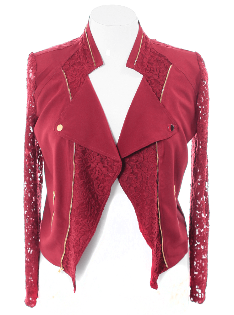 Plus Size Lace Sleeves Burgundy Biker Jacket