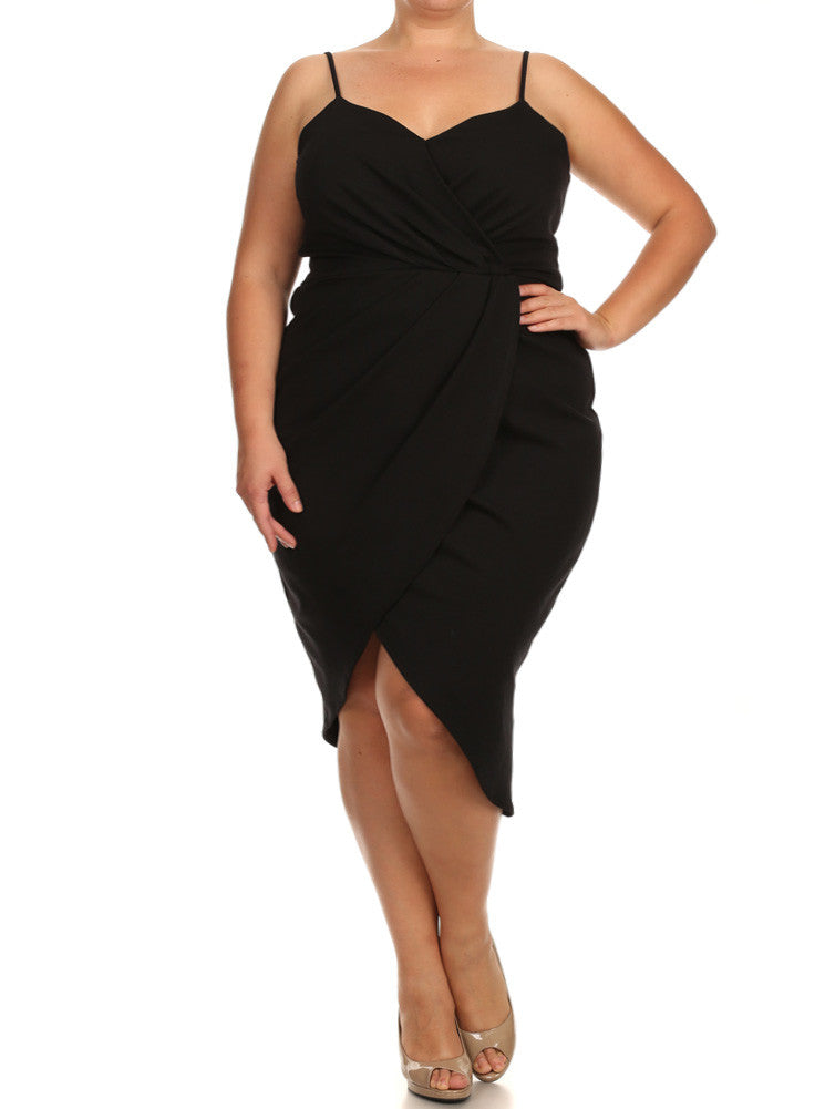 Plus Size Mesmerize In Pleats Black Dress