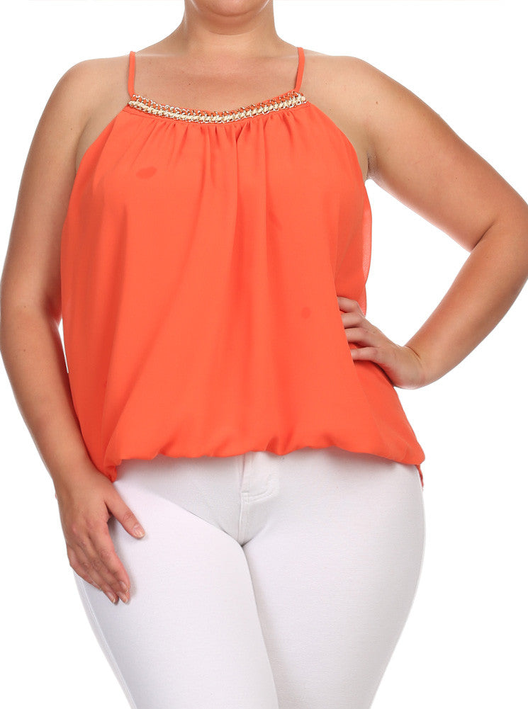 Plus Size Gold Chain Neckline Sheer Orange Top