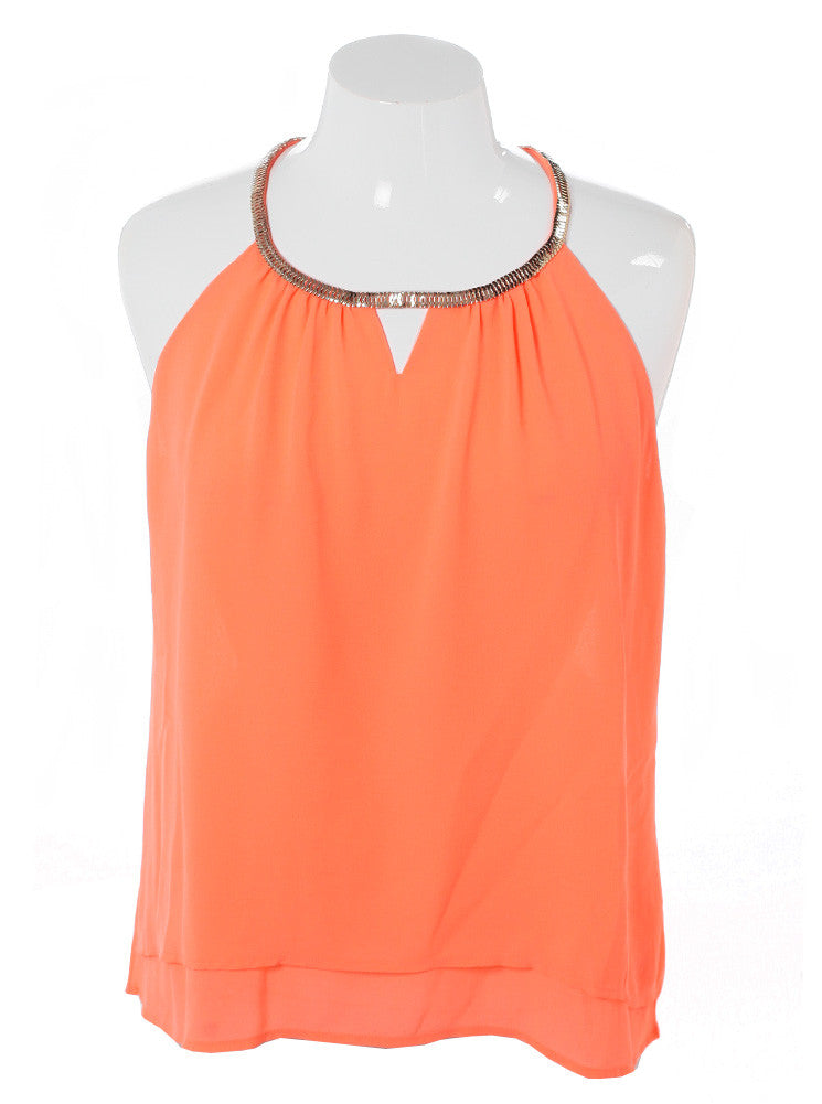 Plus Size Gilded Neckline Sheer Peach Top