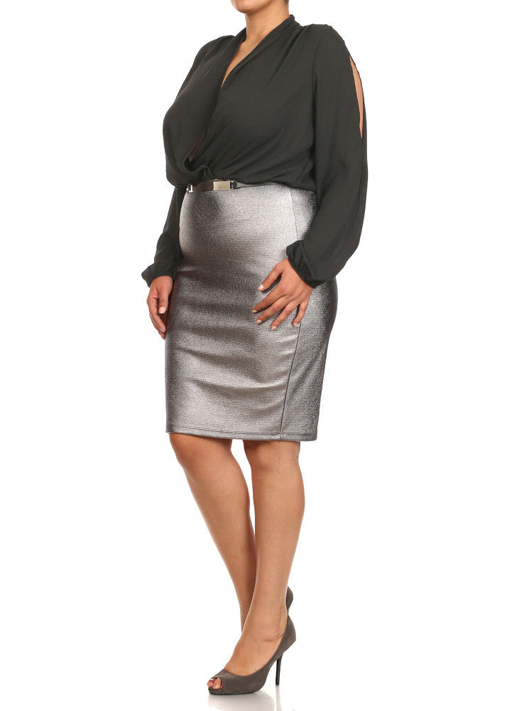 Plus Size Sheer Cut Out Sleeves Belted Metallic Silver Dress