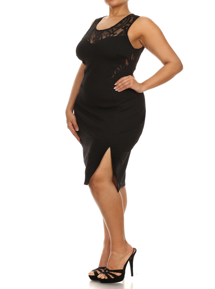 Plus Size Beauty In Mesh Black Midi Dress