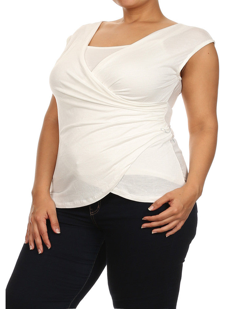 Plus Size Chic Drapey Cross Over White Top
