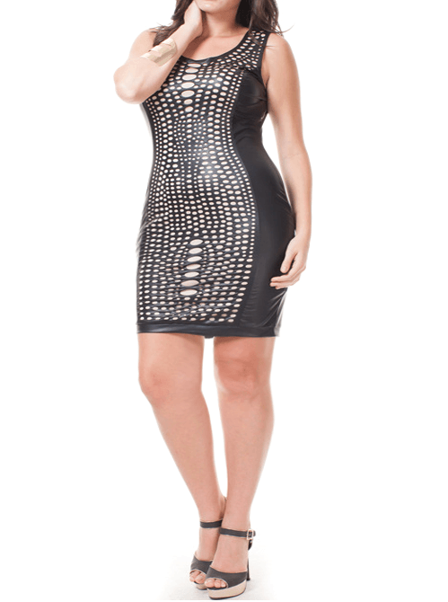 Plus Size Designer Laser Cut Out Leather Dress