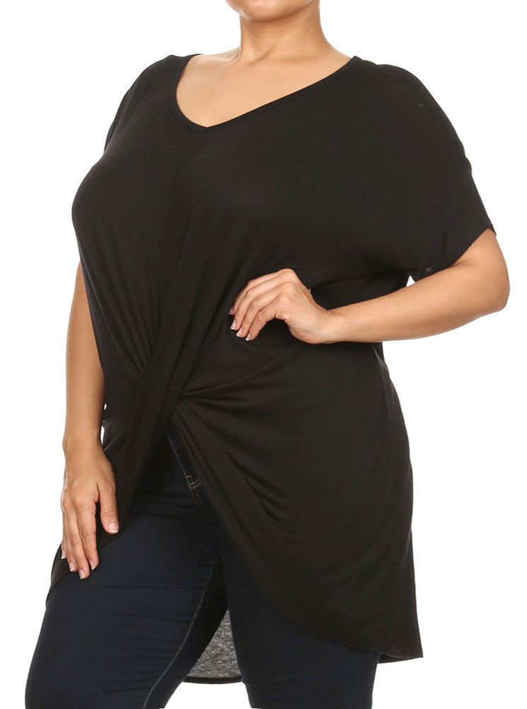 Plus Size Cross My Heart Black Top