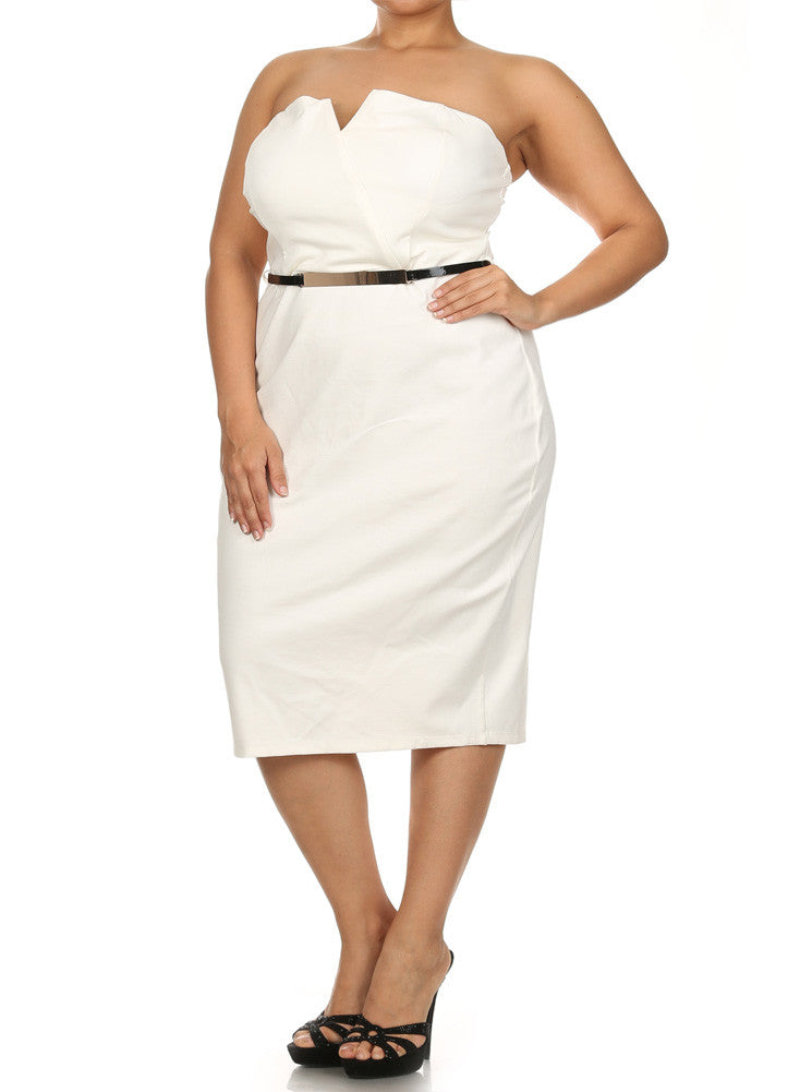 Plus Size Own The Night Cross Over White Dress