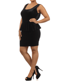 Plus Size Velvet Bow Back Black Peplum Dress
