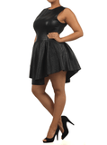 Plus Size Designer Quilted Diamond Pattern Skater Dress