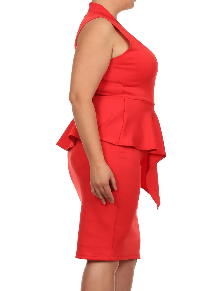 Plus Size Deep In Love Peplum Red Midi Dress