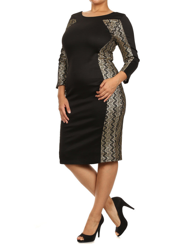 Plus Size Gala Embroidered Glitter Black Midi Dress