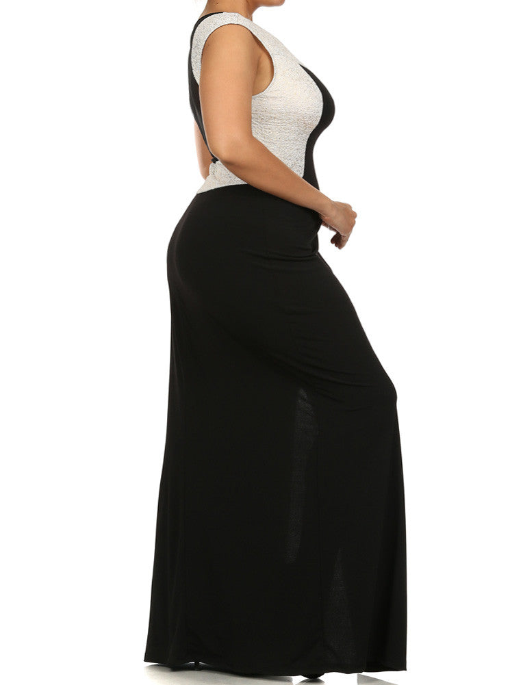 Plus Size Radiant Mesh Back Maxi Dress