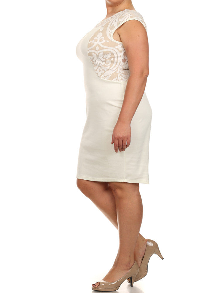 Plus Size Sweetheart Victorian Mesh White Dress