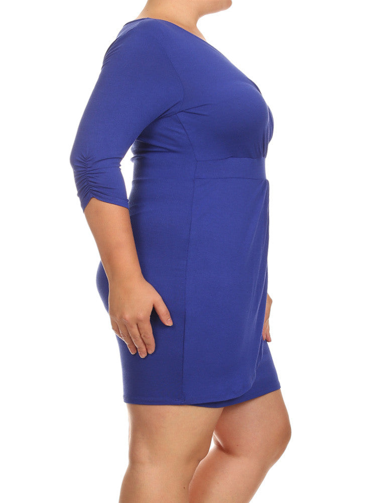 Plus Size Mid Sleeve V Neck Blue Dress