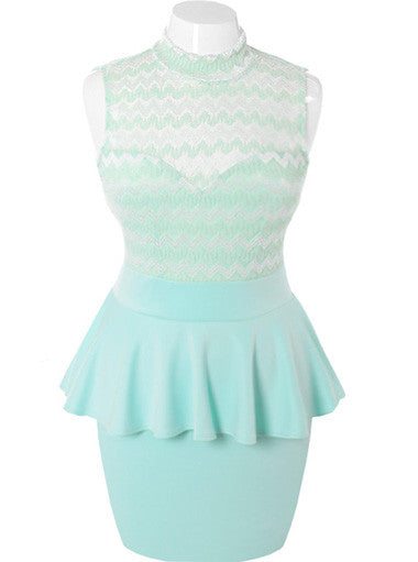 Plus Size See Through Peplum Sleeveless Mint Dress