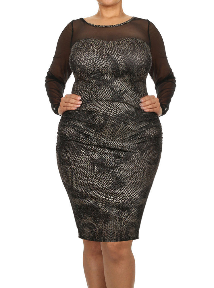 Plus Size Sparkling Sweetheart Mesh Sleeves Midi Dress