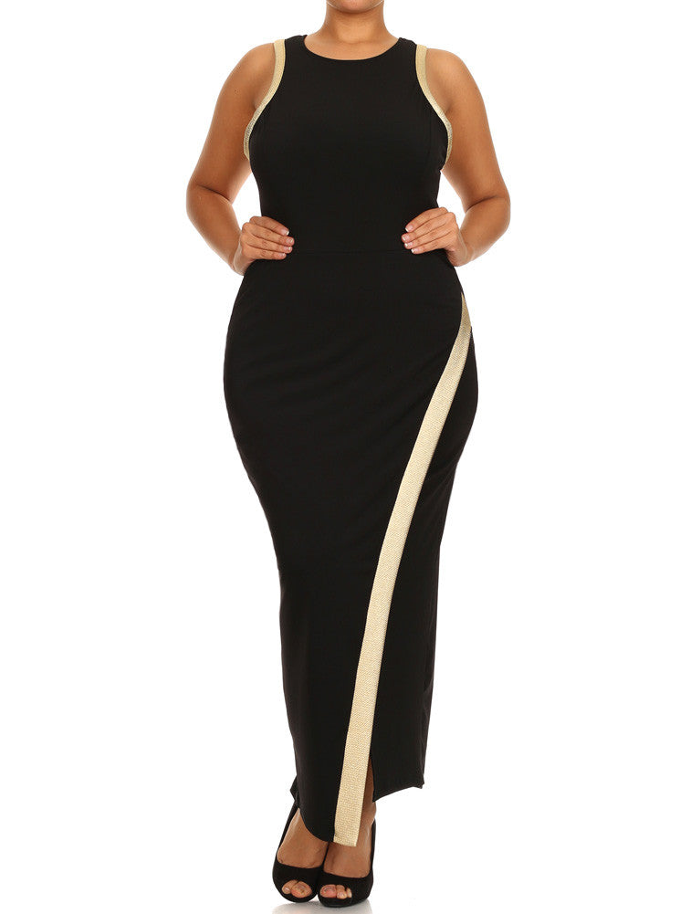 Plus Size Gold Trim Overlapping Hem Maxi Dress