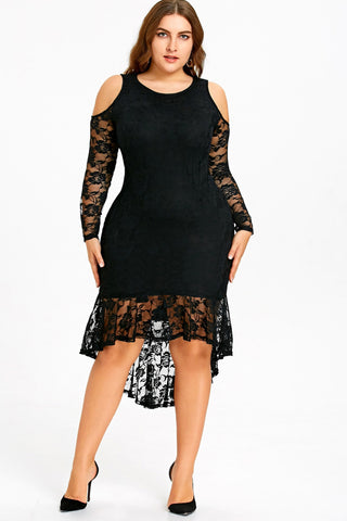 Plus Size Glam Cold Shoulder See Through Lace Trim Dress