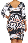 Plus Size Rhinestone Embellished Animal Print Body-con Mini Dress