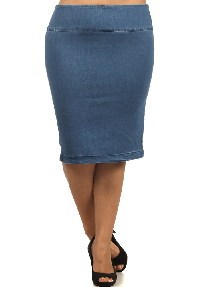 Plus Size Blue Sky High Waist Denim Midi Skirt