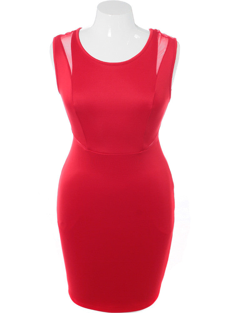 Plus Size Hot Scuba Mesh Red Dress