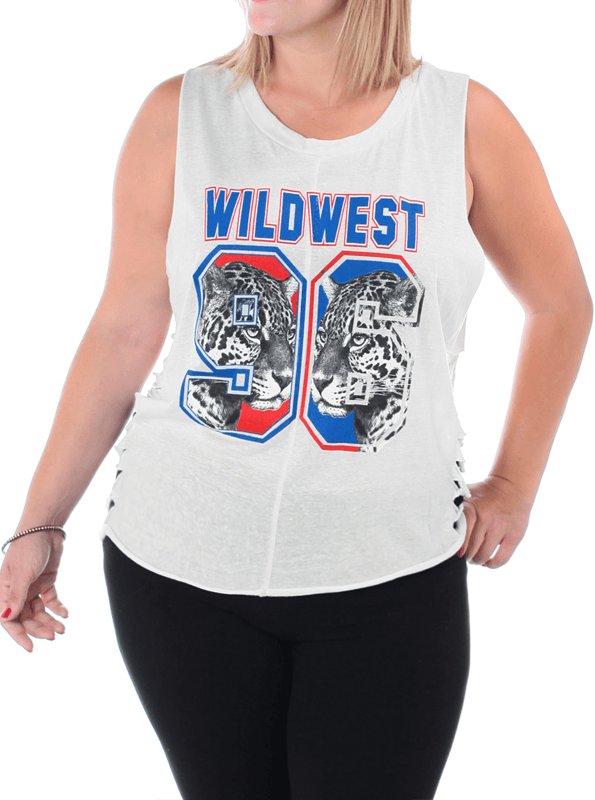 Plus Size Wild West Cut Out Jersey White Top