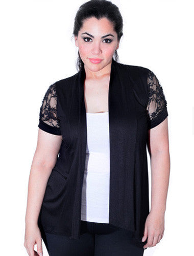 Plus Size See Through Lace Cardigan