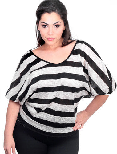 Plus Size Sexy Stripe Bubble Sleeves Black Top