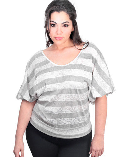 Plus Size Sexy Stripe Bubble Sleeves Grey Top
