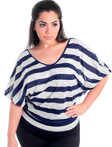 Plus Size Sexy Stripe Bubble Sleeves Blue Top