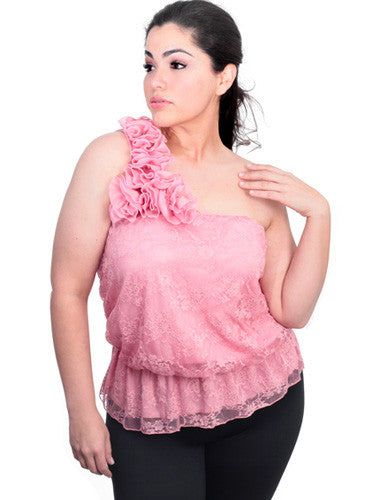 Plus Size Layered Lace One Shoulder Pink Top