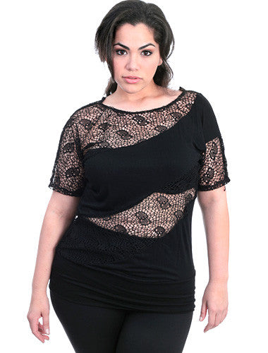 Plus Size See Through Diva Black Top
