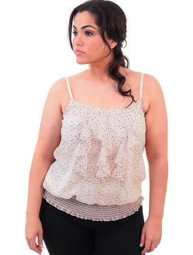 Plus Size Adorable Ruffled Bubble Dot Cream Top