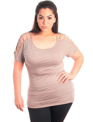 Plus Size Cut Out Shoulder Sleeve Tan Blouse