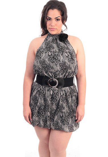 Plus Size Diamond Buckle Layered Bubble Dress
