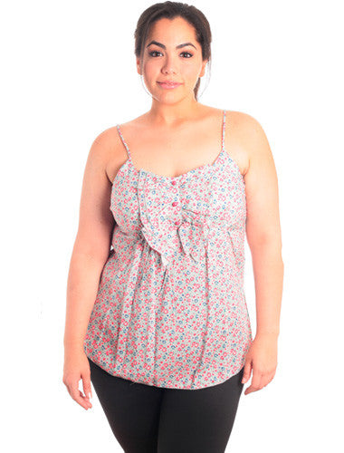 Plus Size Pink Floral Ruffled Tank