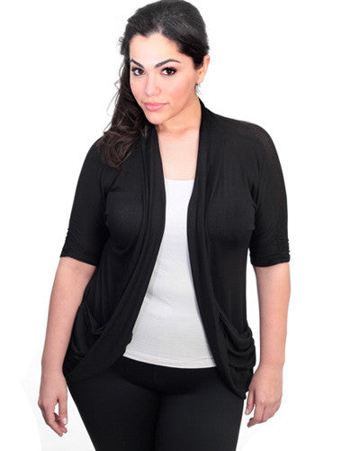 Plus Size Short Scrunch Sleeve Black Cardigan