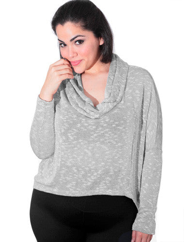 Plus Size Sexy Cowl Neck Loose Grey Top