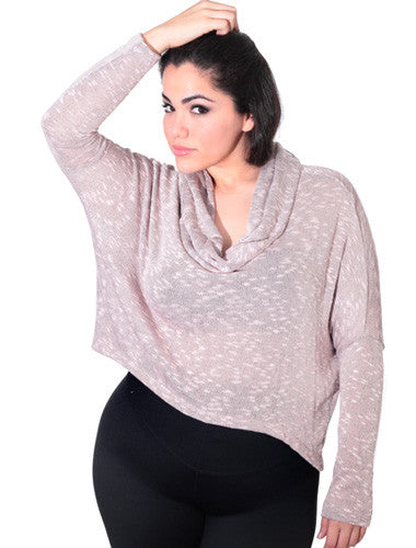 Plus Size Sexy Cowl Neck Loose Pink Top