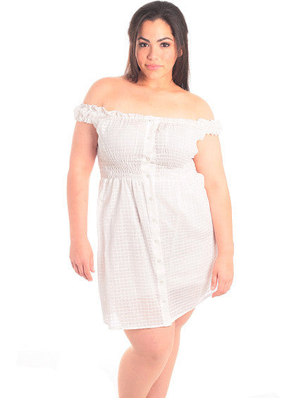 Plus Size Off Shoulder White Button Down Dress