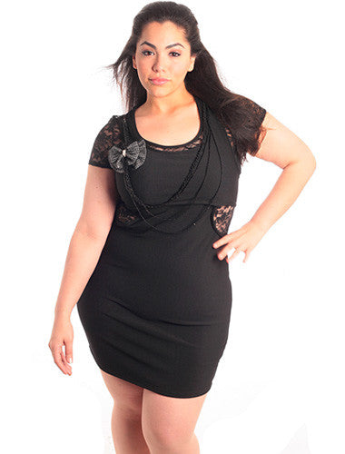 Plus Size Black Lace Cut-Out Fitted Dress