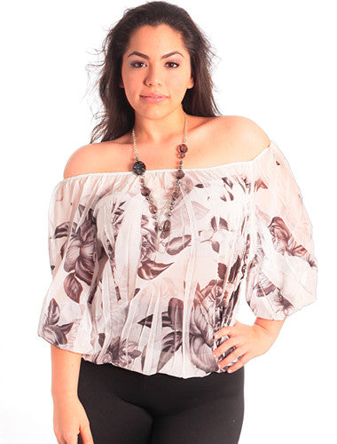 Plus Size Flirty Floral Off The Shoulder White Blouse