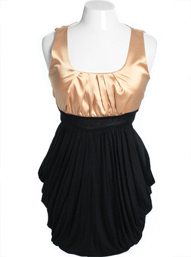 Plus Size Silky Satin Layered Pleat Skirt Gold Dress