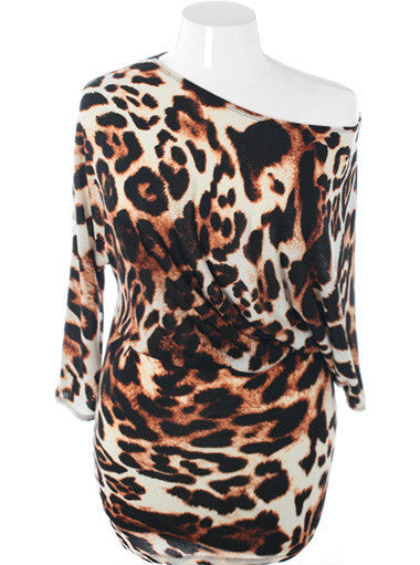 Plus Size Designer One Shoulder Leopard Dress