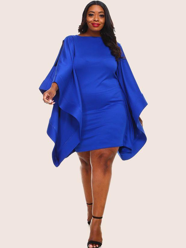 Plus Size Glam Cape Ruffle Sleeve Bodycon Techno Dress