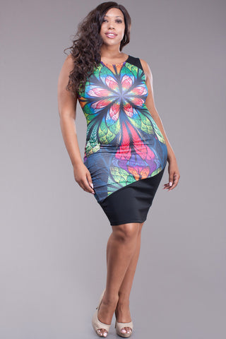 Bodycon Designer Abstract Plus Size Dress