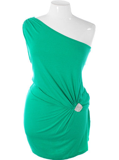 Plus Size Beautiful One Shoulder Diamond Green Dress