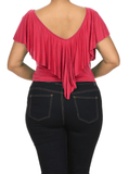 Plus Size Eye Magnet Coral Crop Top