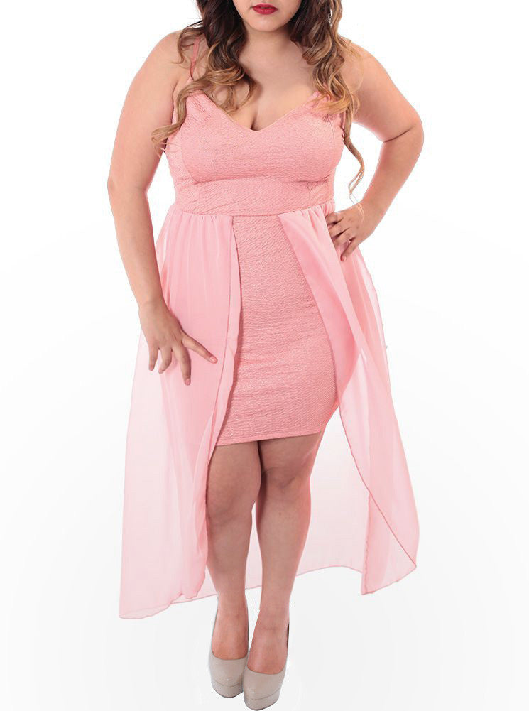Plus Size Sheer Sweetheart Dip Hem Pink Dress