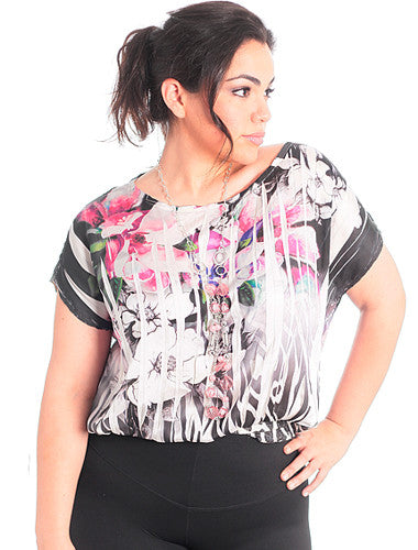 Plus Size Floral Boatneck Gem Necklace Pink Blouse