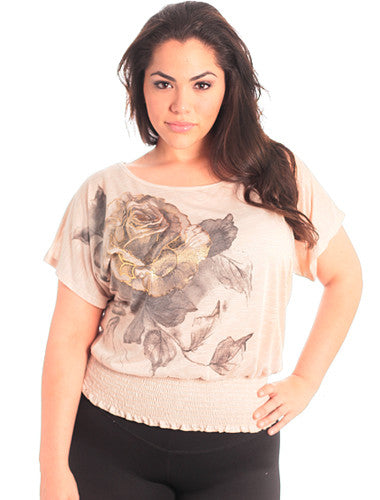 Plus Size Shimmering Tan Rose Top